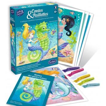 Syreny 4 obrazy do zdobienia brokatem dla dzieci +6, SentoSphere