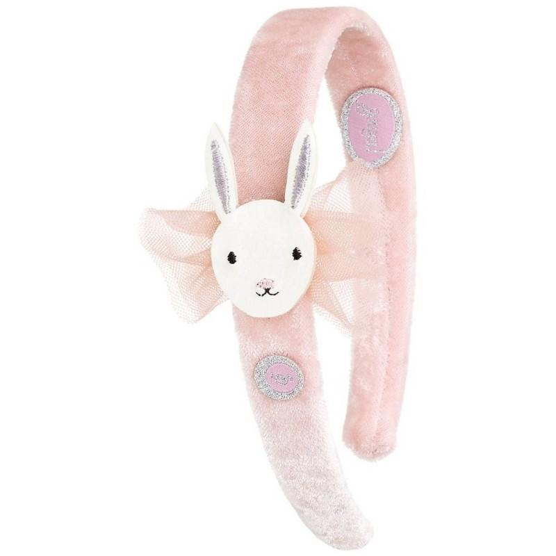 Opaska do włosów Selena różowa ze zajączkiem, Souza!