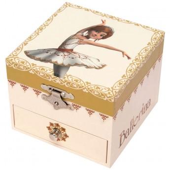 Szkatułka z pozytywką Ballerina© świecąca kwadratowa, Trousselier