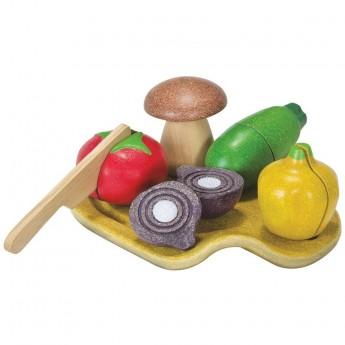Warzywa drewniane do krojenia od 12 mc, Plan Toys