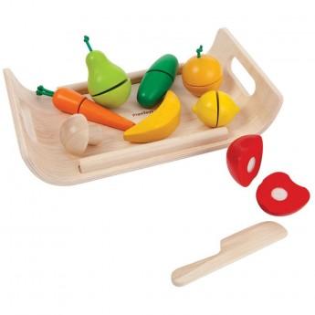 Warzywa i owoce drewniane na tacy do krojenia, Plan Toys