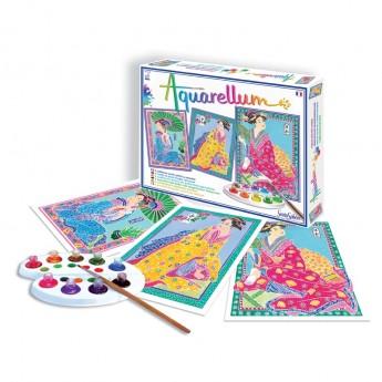 Japonki 3 obrazy do malowania i farby Aquarellum, SentoSphere