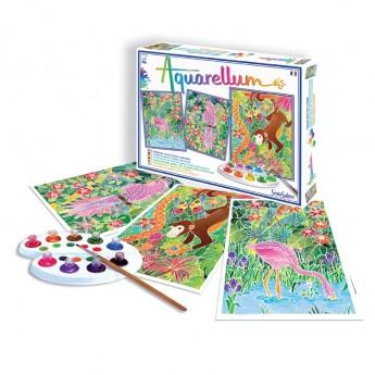 Amazonia 3 obrazy do malowania i farby Aquarellum, SentoSphere