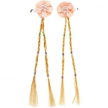 Spinki do włosów Warkocz Marga z różowym kwiatem, Souza!