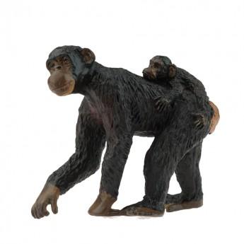 Szympans mama z maluchem figurka, Papo