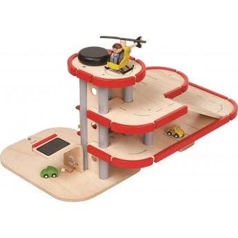 Garaż drewniany piętrowy parking, Plan Toys