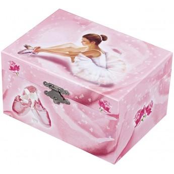 Szkatułka z pozytywką i baletnicą różowa świecąca prostokątna, Trousselier