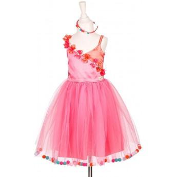 Sukienka balowa Alicia różowa z pomponami 5-7 lata, Souza!