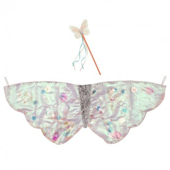 Strój Motylek Cekinowy skrzydełka i różdżka rozm. 3-7 lat, Meri Meri