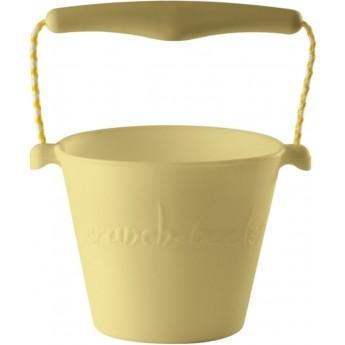 Jasnożółte wiaderko do piasku dla dzieci silikonowe Scrunch-Bucket