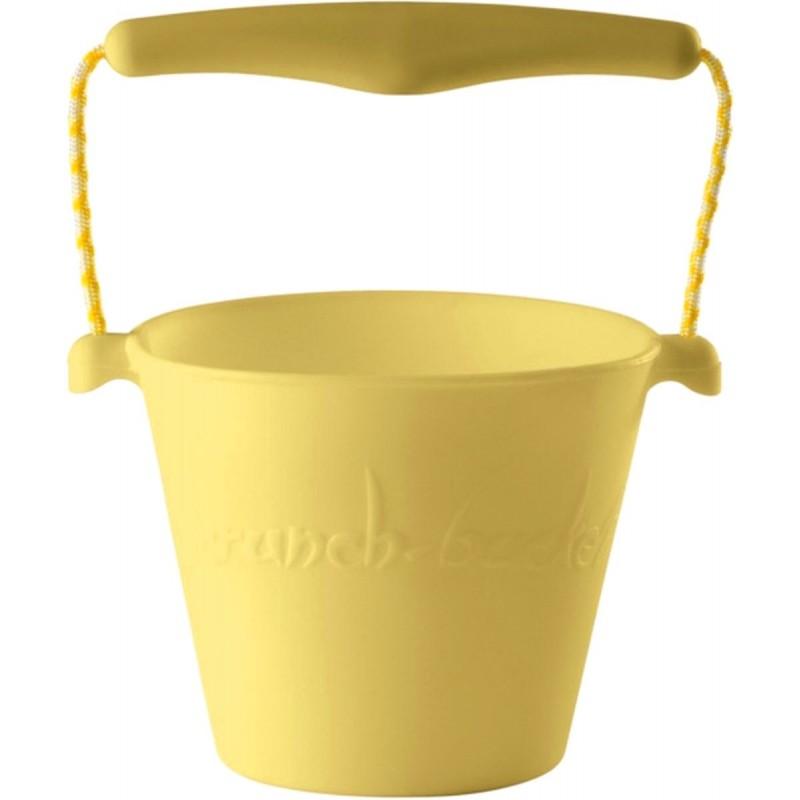 Żółte wiaderko do piasku dla dzieci silikonowe Scrunch-Bucket
