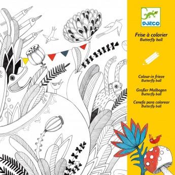 Djeco Długa kolorowanka Motyle 126 cm dla dzieci od 6 lat