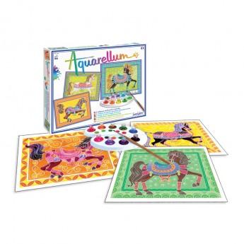 Parada koni 3 obrazy do malowania i farby Aquarellum, SentoSphere