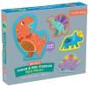 Mudpuppy 4 puzzle sensoryczne 3-elementowe Dinozaury +12m