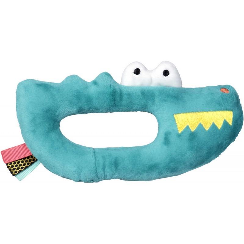 Grzechotka pluszowa Krokodyl dla niemowląt od 0mc, Ebulobo