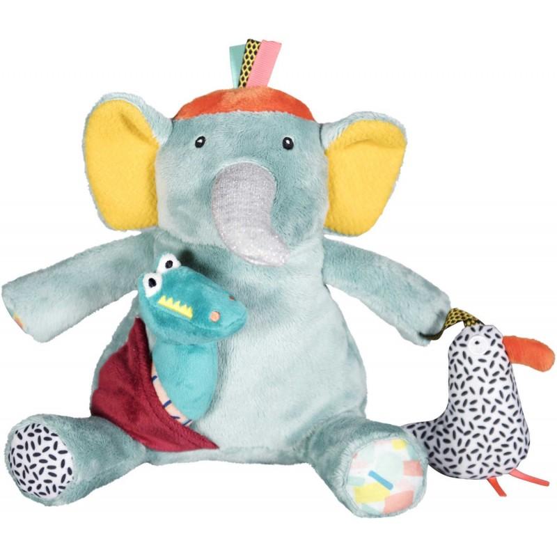 Sensoryczna zabawka Słoń Ziggy dla niemowląt od 3mc, Ebulobo