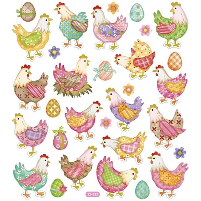 Wielkanocne Kurki ozdobne naklejki dla dzieci +3, Creativ Company