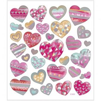 Serca Różowo-Metaliczne ozdobne naklejki dla dzieci +3, Creativ Company