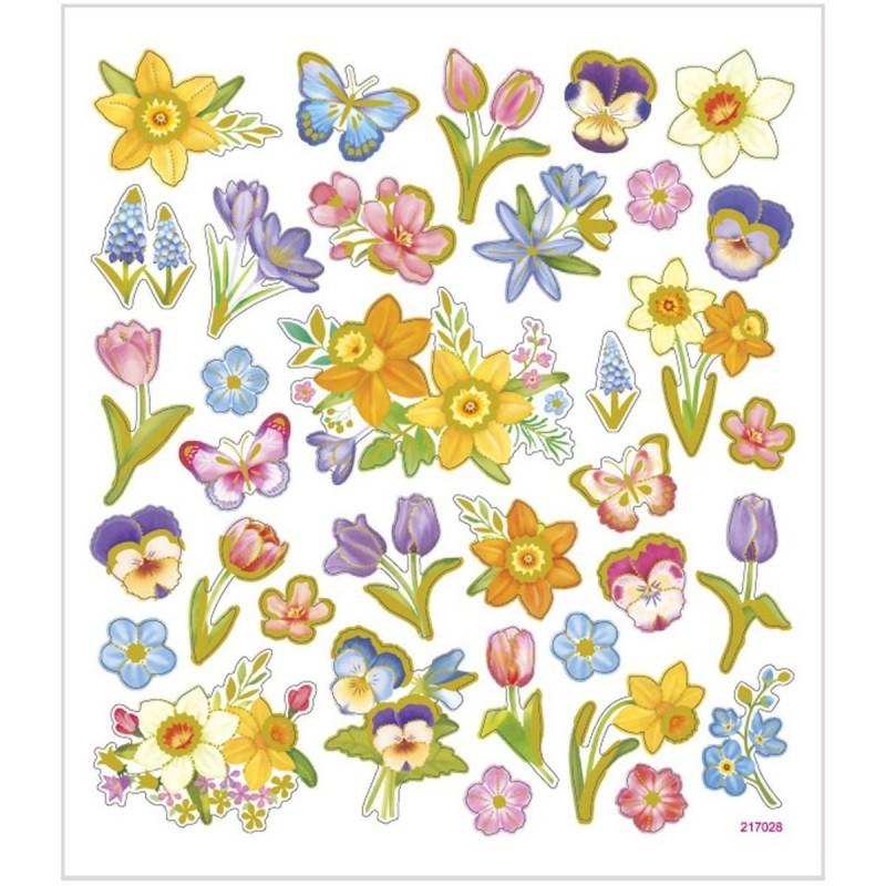 Kwiaty Wiosenne ozdobne naklejki metaliczne dla dzieci +3, Creativ Company