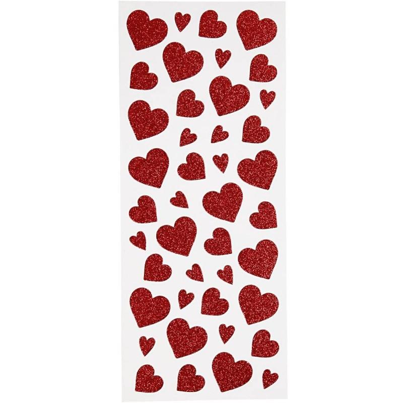Czerwone Serca ozdobne naklejki dla dzieci +3, Creativ Company