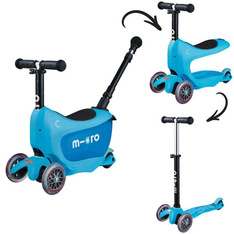Mini2go Blue Deluxe jeździk i hulajnoga z siedziskiem