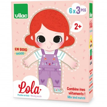 Lola układanka drewniana nauka emocji Vilac