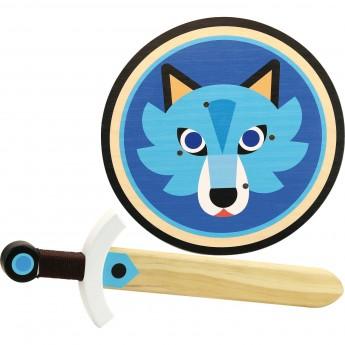 Vilac Tarcza i miecz Wilk zabawki drewniane dla dzieci od 4 lat
