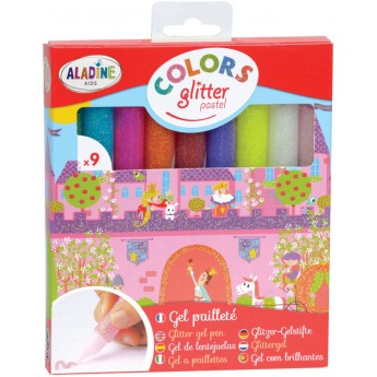 Pisaki brokatowe Pastelowe 9 sztuk dla dzieci od 5 lat, Aladine