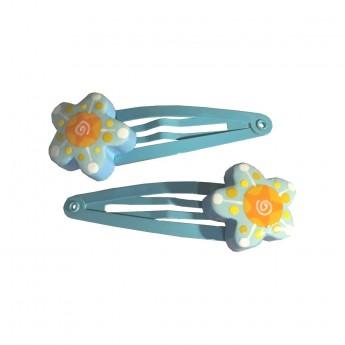 Spinki niebieskie 2 szt z kwiatem dla dziewczynki, Le Coin des Enfants