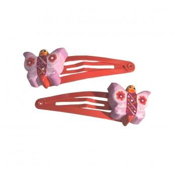 Spinki czerwone 2 sztuki z motylkiem dla dziewczynki, Le Coin des Enfants