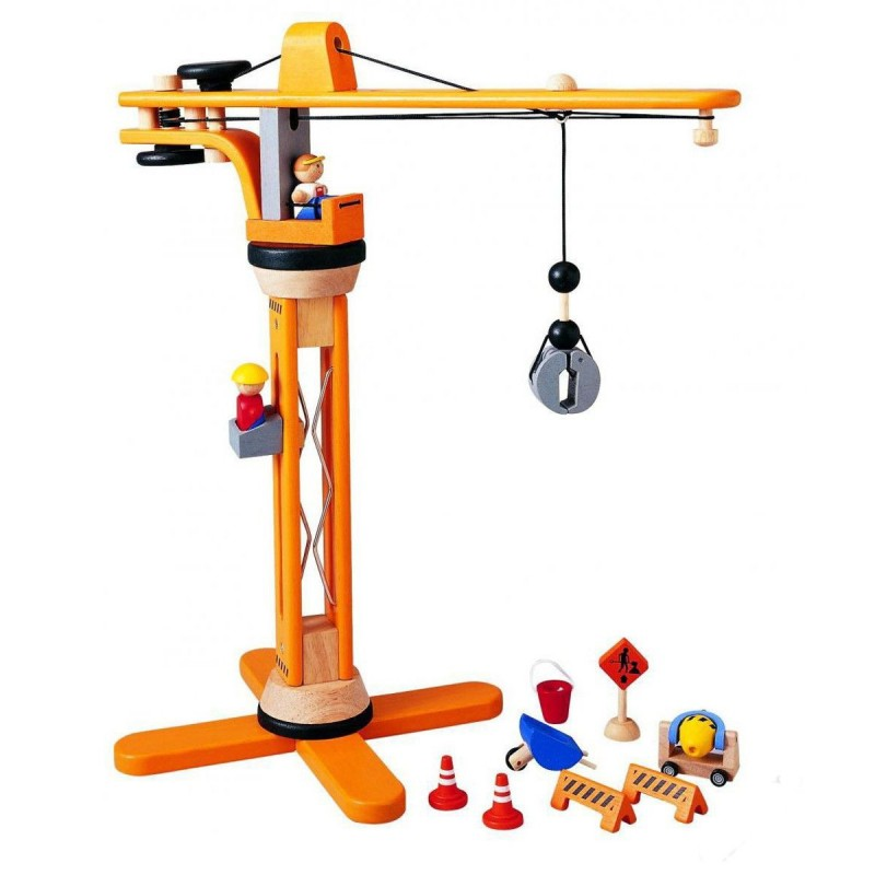 Duży dźwig drewniany ruchomy dla dzieci +3, Plan Toys