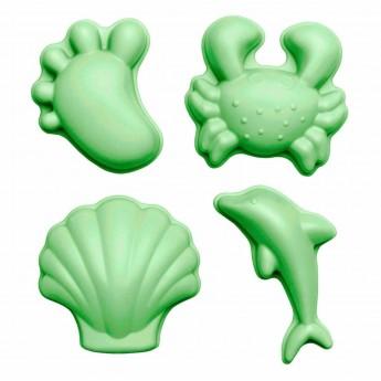 Silikonowe Foremki do piasku 4 sztuki Scrunch - Pastelowy Zielony +12m
