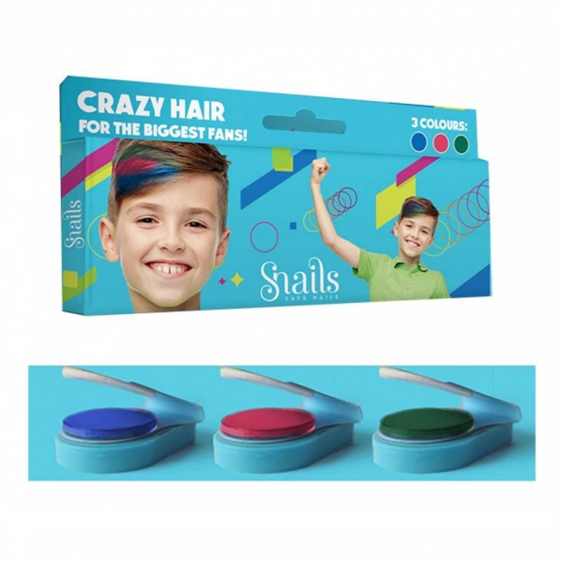 Zmywalne kredy do włosów Boys Hair Chalk Snails - 3szt.