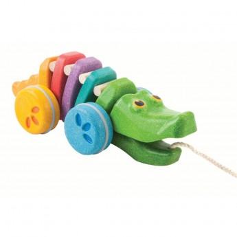 Tęczowy krokodyl, zabawka do ciągnięcia, Plan Toys