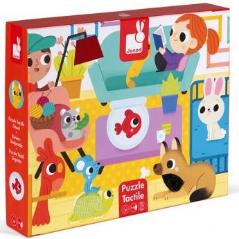 Puzzle sensoryczne 20 elementów Zwierzęta domowe, Janod