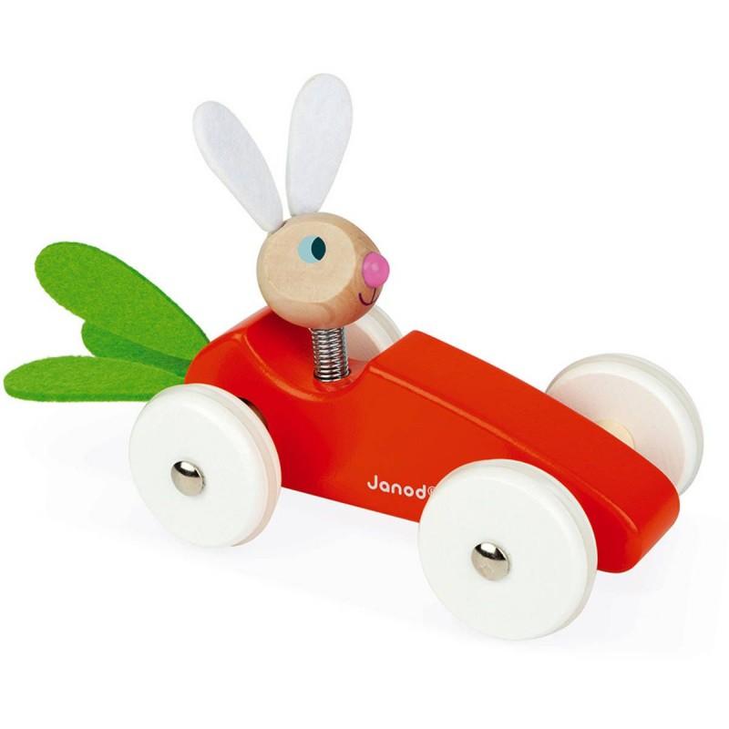 Drewniany samochód marchewka z Królikiem, Janod