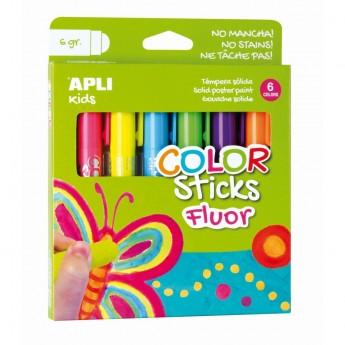 Farby neonowe w kredce dla dzieci 6 kolorów, Apli Kids