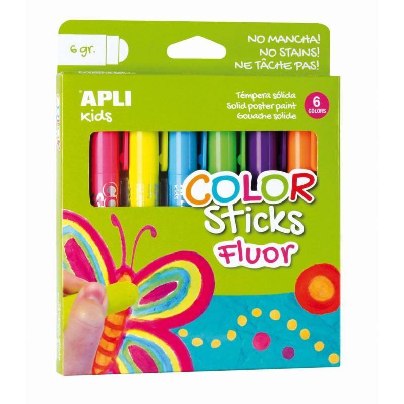 Farby w kredce neonowe 6 kolorów, Apli Kids