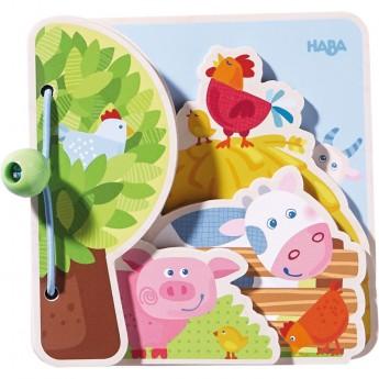 Książeczka drewniana dla niemowląt Farma +10m, Haba