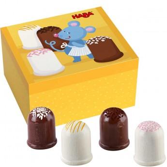Haba Pralinki i Pianki Marshmallow w pudełku, drewniane do zabawy