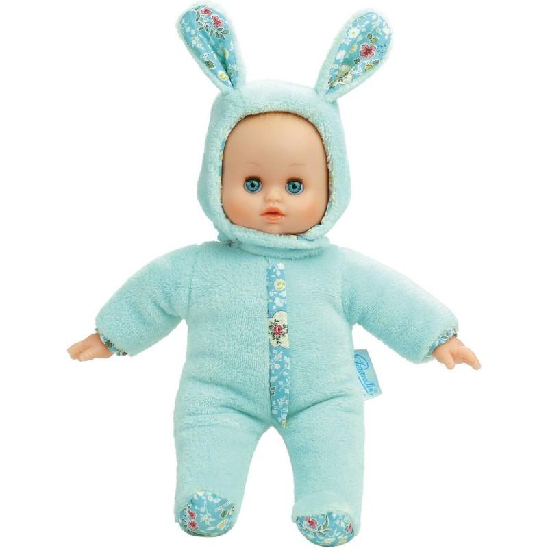 Lalka szmaciana bobas dla niemowląt +10m niebieski Króliczek, Petitcollin