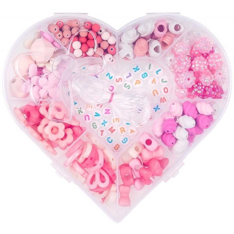 Koraliki różowe do tworzenia biżuterii Serce, Souza!