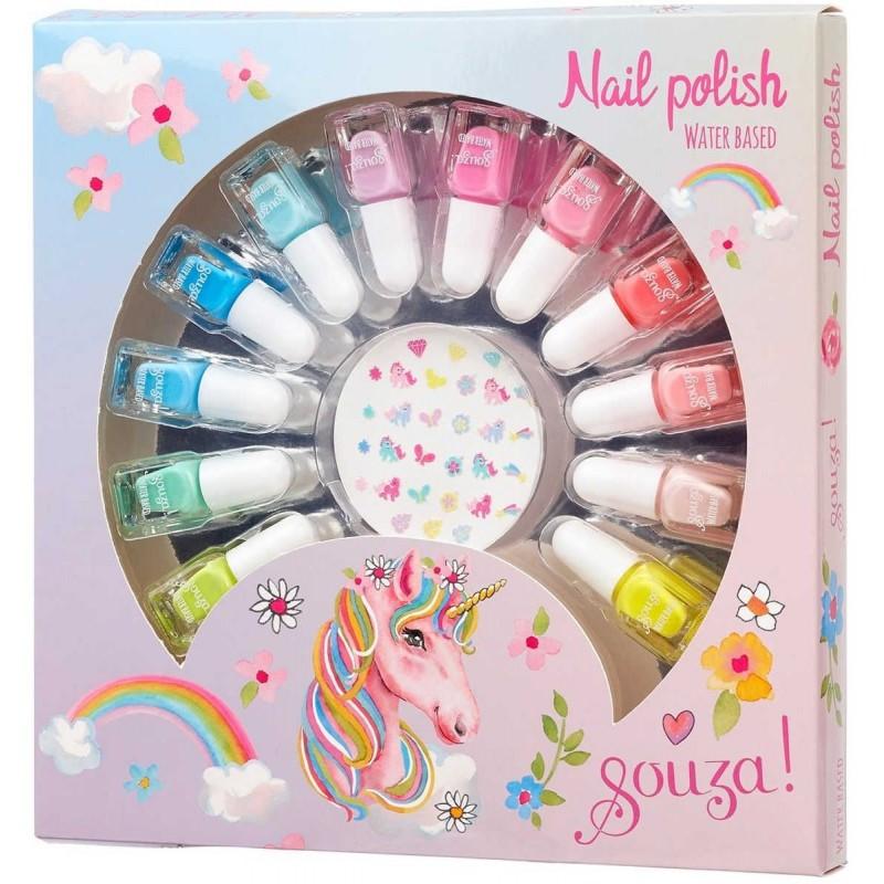 Zestaw do manicure dla dzieci 12 lakierów na wodzie i naklejki, Souza!