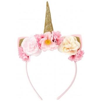 Opaska z rogiem jednorożca i kwiatuszkami złoto-różowa, Souza!