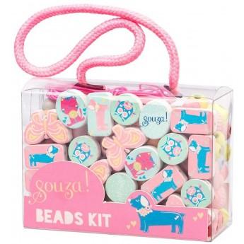 Koraliki drewniane do tworzenia biżuterii Zwierzęta pink, Souza!