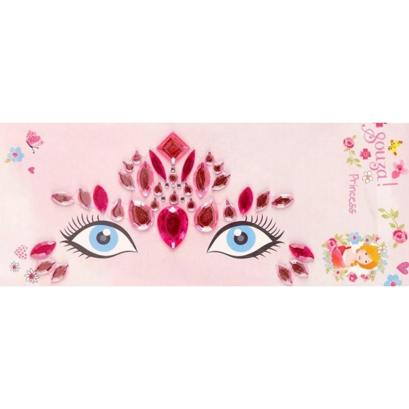 Naklejki na twarz z cyrkoniami Księżniczka różowa, Souza!