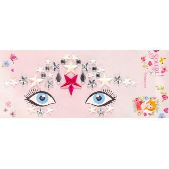 Naklejki na twarz z cyrkoniami Księżniczka różowo-srebrna, Souza!