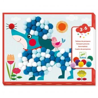 Djeco Psy Zestaw artystyczny z pomponami dla dzieci +3