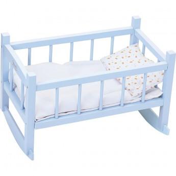 Łóżeczko dla lalek 40 cm niebieskie, Petitcollin