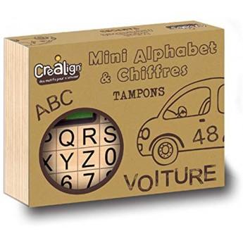 Literki i cyferki zestaw mini stempelków drewnianych, Crea Lign'